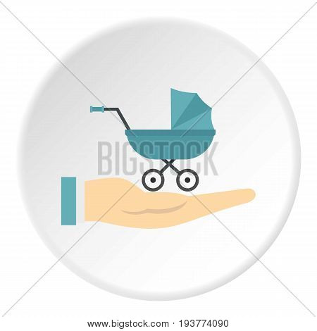 Baby pram protection icon in flat circle isolated vector illustration for web
