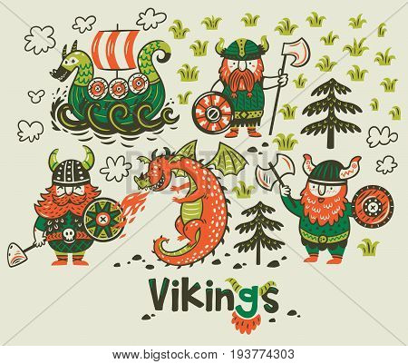 Set with three vikings, dragon and ship in cartoon style. Funny vector illustration for kids