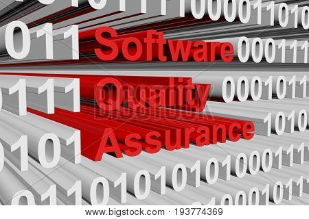 Software quality assurance in the form of binary code, 3D illustration