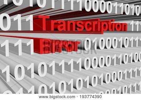 Transcription error in the form of binary code, 3d illustration