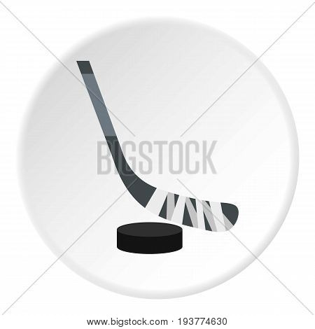 Hockey stick and puck icon in flat circle isolated vector illustration for web