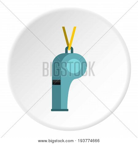 Sport whistle icon in flat circle isolated vector illustration for web
