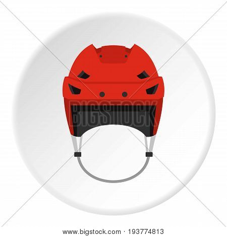Hockey helmet icon in flat circle isolated vector illustration for web