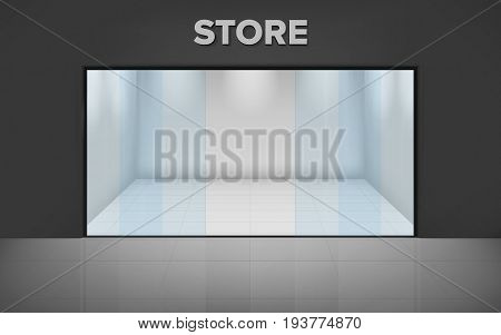 Empty illuminated store. Realistic exterior. Shop with glass showcase. View from the outside. Vector illustration