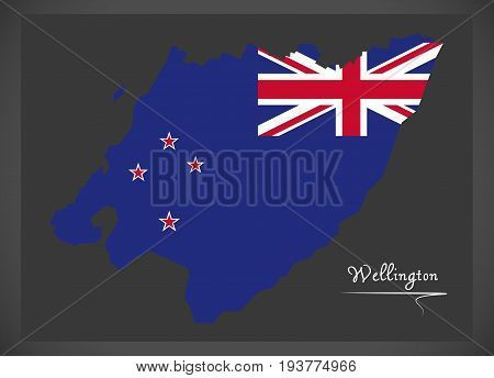 Wellington New Zealand Map With National Flag Illustration