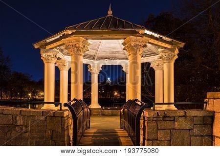Night view of illuminated Clara Meer Gazebo in the Piedmont Park Atlanta USA
