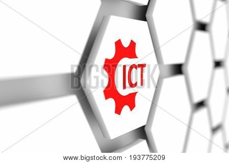 ICT cell gear wheal blurred background 3d illustration