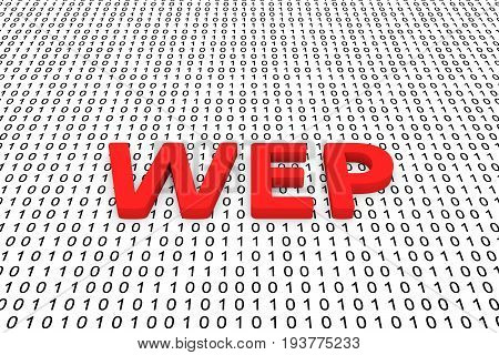 WEP in the form of binary code, 3D illustration