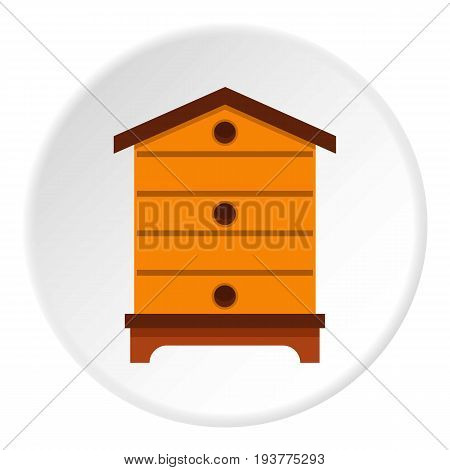 Hive icon in flat circle isolated vector illustration for web