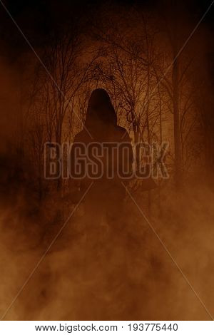 Killer in haunted forest,Horror concept and ideas background