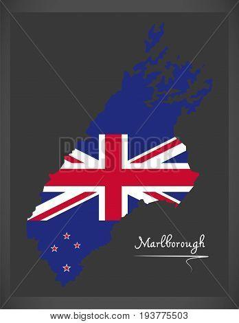 Marlborough New Zealand Map With National Flag Illustration