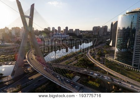 Sunset on Estaiada Bridge in Sao Paulo, Brazil