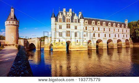 Elegant  castle in sunset light. beautiful castles of Loire valley