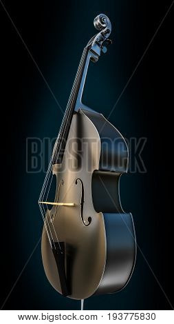 3d illustration of a contrabass isolated on black background
