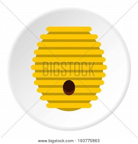 Beehive icon in flat circle isolated vector illustration for web
