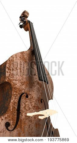 3d illustration of a contrabass isolated on white background
