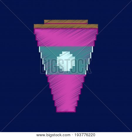 flat shading style icon pixel glass of cola