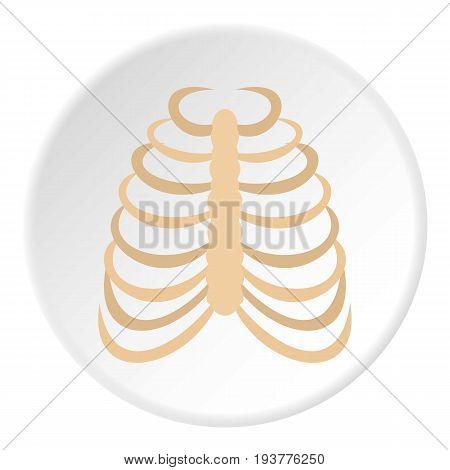 Rib cage icon in flat circle isolated vector illustration for web