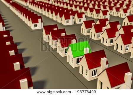 3d illustration of a house with green roof amidst multiple red roof buildings