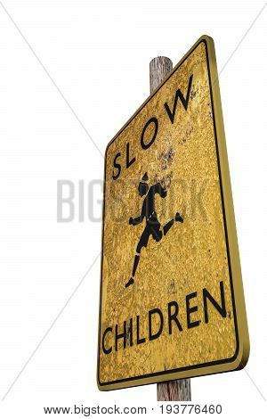 3d illustration of a slow sign isolated on white background