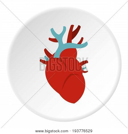 Heart icon in flat circle isolated vector illustration for web