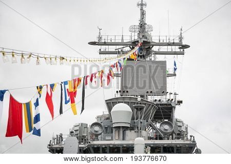 Ship Tour USS Kearsarge (LHD 3) Wasp-class amphibious assault ship: Bridge and navigation station with ceremonial flags on a line, flight deck. Fleet Week NEW YORK MAY 25 2017.