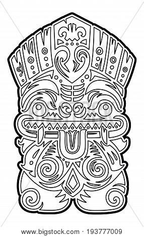 Hawaiian tiki totem mask. Coloring page. Vector art