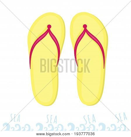 Yellow flip flops or flip-flop. Rest on the sea. Summer time at the beach.