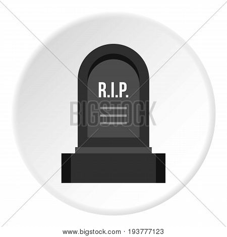 Headstone icon in flat circle isolated vector illustration for web