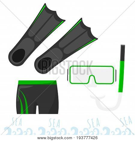 Set for snorkeling. Mask with a tube, fins and swimming trunks. summertime