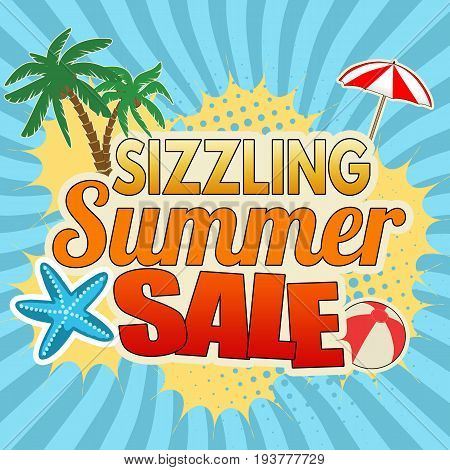 Sizzling summer sale advertising poster design on blue vector illustration