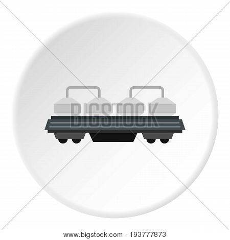 Rail wagon for construction materials icon in flat circle isolated vector illustration for web