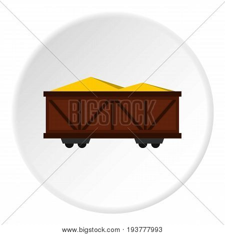 Train cargo wagon icon in flat circle isolated vector illustration for web