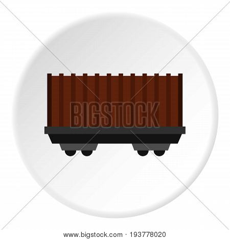 Cargo wagon icon in flat circle isolated vector illustration for web