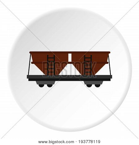 Freight railroad car icon in flat circle isolated vector illustration for web