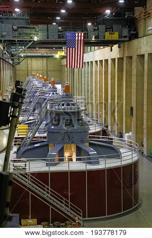 BOULDER CITY, NEVADA - October 30: The large turbines in the Hoover Dam power plant near Boulder City, Nevada on October 30, 2014.