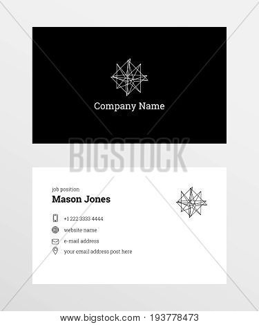 Double-sided business card template. US standard size 3.5x2 in. Withe bleed size 0.125 in. Vector. Minimal and official style. With geometric shape logo and icons phone, globe, letter.