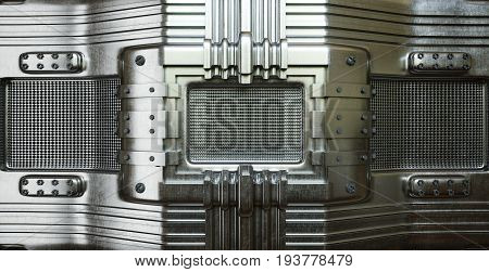 metal plate with perforated holes concept photo