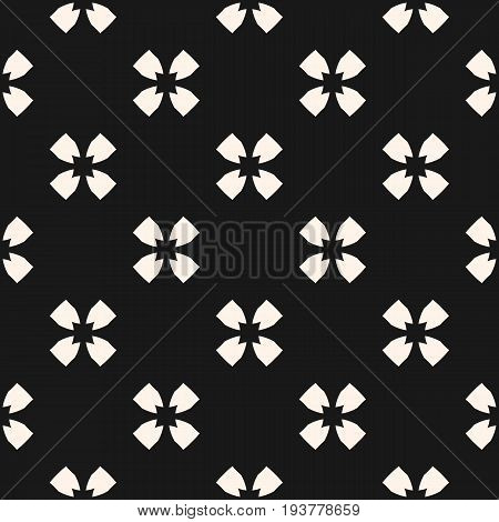 Vector monochrome seamless pattern. Floral geometric background with flower silhouettes. Simple dark abstract texture, repeat tiles. Design pattern, textile pattern, covers pattern, package pattern, decor pattern, fabric pattern.