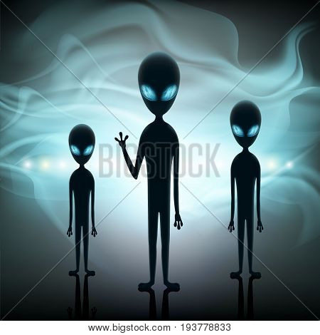 Aliens stand in the background of a spaceship. Contact with extraterrestrial life. Space invaders on UFO. Stock vector illustration.
