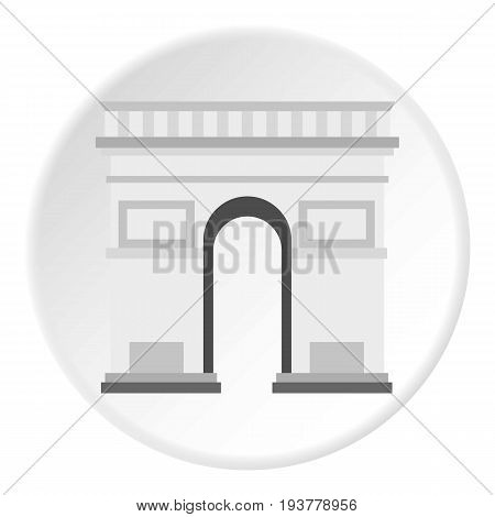 Triumphal Arch icon in flat circle isolated vector illustration for web