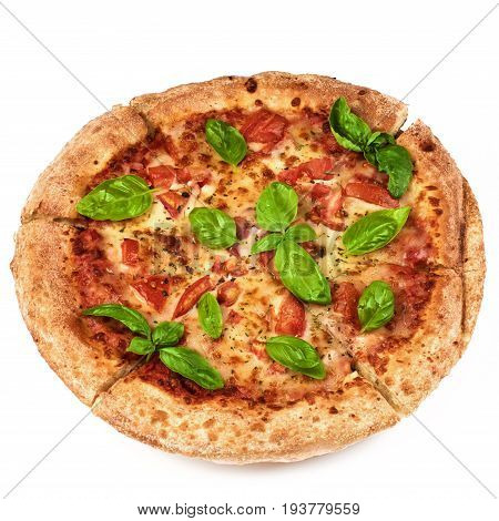 Freshly Baked Margherita Pizza with Tomatoes Cheese and Basil Leafs closeup on White background