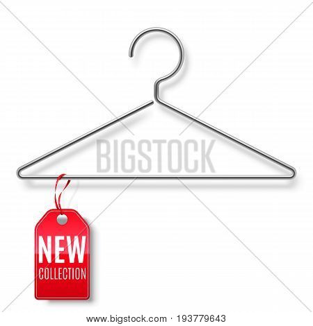 Clothes hanger with red new collection tag isolated on white background