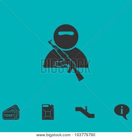 Soldier icon flat. Simple vector symbol and bonus icon