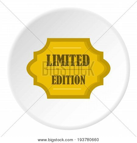 Golden limited edition label icon in flat circle isolated vector illustration for web