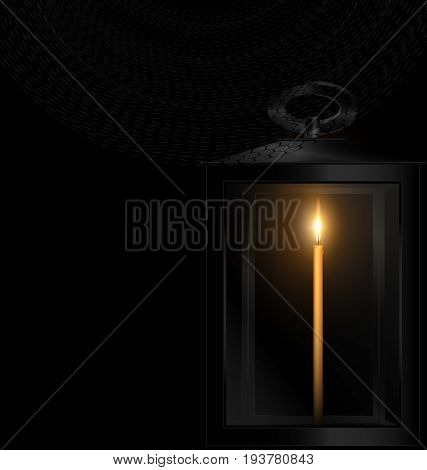 black background and the small burning candle in the retro lantern with black veil