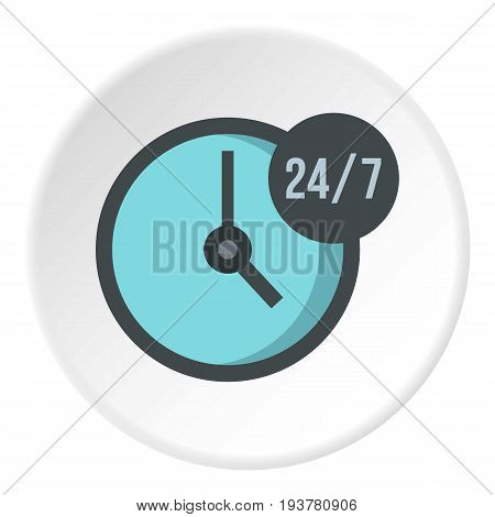 Open or served around the clock, 24 hours a day and 7 days a week icon in flat circle isolated vector illustration for web