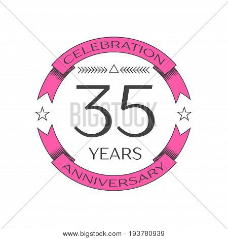 Realistic thirty five years anniversary celebration logo with ring and ribbon on white background. Vector template for your design