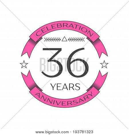 Realistic thirty six years anniversary celebration logo with ring and ribbon on white background. Vector template for your design