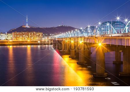 Seoul City And Bridge And Han River,n Seoul Tower At Night,  South Korea.